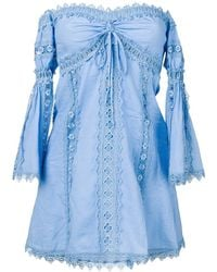 Charo Ruiz Off-shoulder Embroidered Blouse - Blue