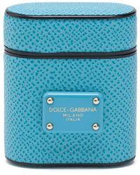 Dolce & Gabbana Airpod Hoesje Met Logoplakkaat - Blauw