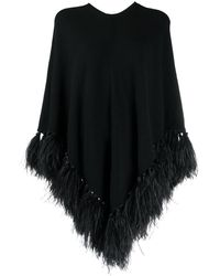 Valentino Feather-trimmed Poncho - Black