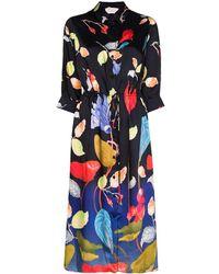 Peter Pilotto Robe-chemise en faille de satin à imprimé floral - Multicolore