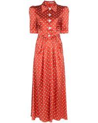Alessandra Rich Silk Polka Dot Midi Dress - Red