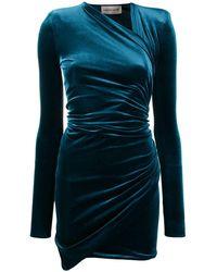 Alexandre Vauthier Velvet Wrap Dress - Green
