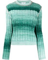 Area Embellished Ombré Knit Jumper - Green