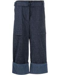 ODEEH Pantalones anchos de talle alto - Azul