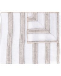 Brunello Cucinelli Striped Scarf - White