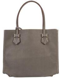 Moreau Stitch Detail Square Shoulder Bag - Blue
