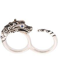 John Hardy Naga Sapphire, Spinel And Sapphire Two Finger Ring - Metallic