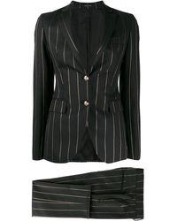 Tagliatore Striped Suit - Black