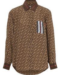 Burberry ストライプパネル シルクシャツ - ブラウン