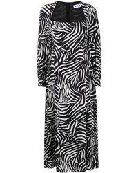 RIXO London Mara ゼブラプリント ドレス - ブラック