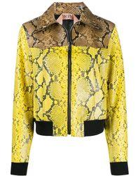 N°21 Snakeskin Print Leather Jacket - Yellow