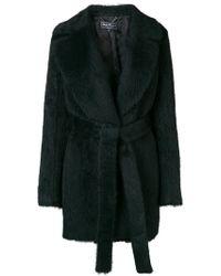Ferragamo - Fur Belted Coat - Lyst