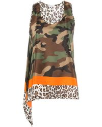 P.A.R.O.S.H. Camouflage-print Sleeveless Top - Brown