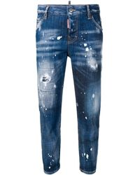 DSquared² Bleached Effect Cropped Jeans - Blue