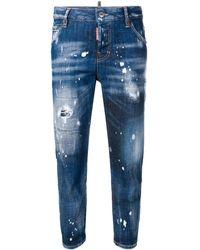 DSquared² Ausgewaschene Cropped-Jeans - Blau