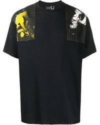 Fred Perry プリント Tシャツ - ブラック