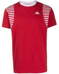 Kappa ストライプ パネル Tシャツ - レッド