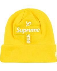 Supreme New Era Cross Beanie mit Logo - Gelb