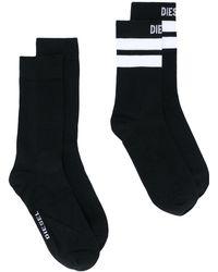 DIESEL 2er-Set Socken mit Logo - Schwarz
