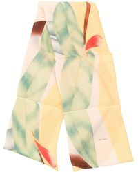 Etro Pleated Abstract Print Scarf - Yellow