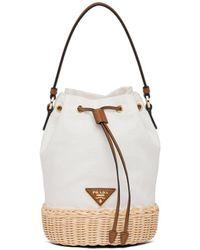 Prada ロゴ バケットバッグ - ホワイト
