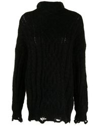 Toga Funnel Neck Cable-knit Sweater - Black
