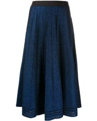Karl Lagerfeld Pleated Lurex Skirt - Blue