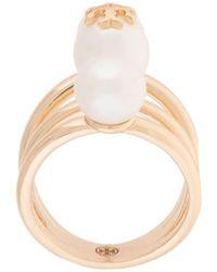 Tory Burch Kira Pearl Stackable Ring - Metallic