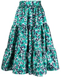 Gianluca Capannolo Leopard Print Flared Pleated Skirt - Green