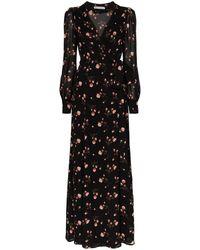 Reformation Robe portefeuille Shanti à fleurs - Noir