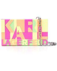 Karl Lagerfeld Neon Minaudiere Box Clutch - Pink