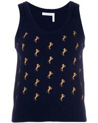 Chloé Top estilo jersey con bordado de caballos - Azul