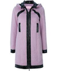 Giamba Patent Detail Hooded Coat - Pink