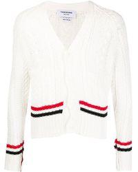 Thom Browne Men's Aran Cable-knit Cardigan Sweater W/ Stripes - White