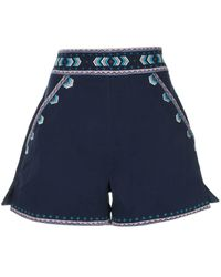 Talitha Embroidered tailored shorts - Bleu