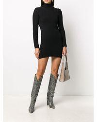 Dondup Платье В Рубчик С Высоким Воротником - Черный