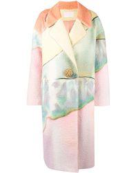 Peter Pilotto Paint Effect Brooch Button Coat - Pink