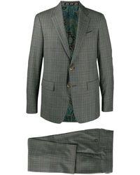 Etro チェック スーツ - グレー