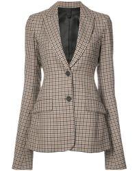 Vera Wang - Ruffle Sleeve Checked Blazer - Lyst