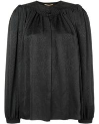 Saint Laurent - Embroidered Smock Blouse - Lyst