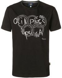 Class Roberto Cavalli Olympic Print T-shirt - Black