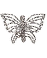 Gucci Butterfly Embellished Brooch - Metallic