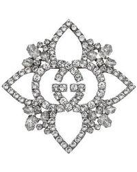 Gucci Брошь В Виде Цветка С Переплетающимися GG С Кристаллами - Многоцветный