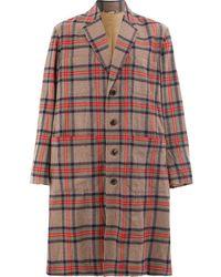 Gucci Клетчатое Пальто - Красный