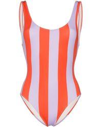 Solid & Striped Badeanzug mit breiten Streifen - Lila