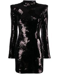 Balmain Robe courte à épaules structurées - Noir