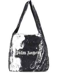 Palm Angels Tie-dye Logo Print Tote Bag - Black