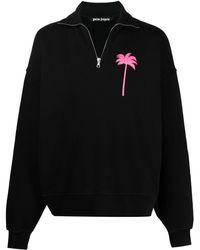 Palm Angels Jersey con media cremallera - Negro