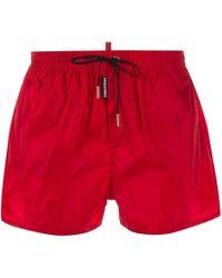 DSquared² Short de bain à coupe droite - Rouge