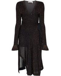 Chloé Трикотажное Платье С Запахом И Люрексом - Черный